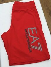 EMPORIO ARMANI EA7 Racing Red Silver Logo 100% Cotton Shorts Sizes S-XL BNWT