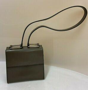 Furla Leather Handbag With Shoulder Strap Olive Grey Green (D3)
