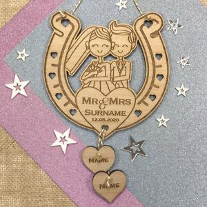 Personalised Wedding Keepsake Gift Married Couple Mr & Mrs Lucky Horseshoe