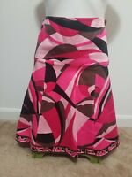 NWT Elie Tahari Pink Floral Print Knee-Length Cotton Flare A-Line Skirt Size 2