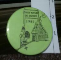 Rare Vintage Pin Cute Metal Pinback Cartoon Chief Kitsap Ski School 1985 Skiing