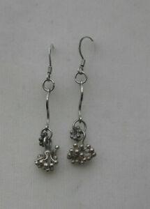Unusual boho ethnic look silver earrings 925 silver mini baubles cluster
