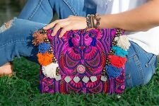 Handmade Clutch Bag with Hmong Embroidered in Pink Fair Trade Thailand