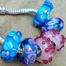 6 Sky Blue Pink 3D Flowers Ocean Waves Single Core Murano Glass European Beads