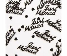 2 x BLACK JUST MARRIED 14g FOIL CONFETTI TABLE SCATTER  DECORATIONS (PA)