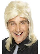 Adult Blonde Mullet Wig 1980's Punk Rock Bon Jovi Fancy Dress Brand New
