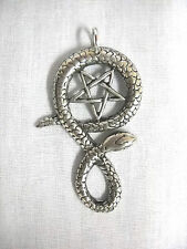 OCCULT SATANIC PENTAGRAM  SERPENT TWIST SNAKE PEWTER PENDANT ADJ CORD NECKLACE