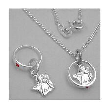 Patengeschenk Mädchen Taufring roter Stein mit Schutzengel und Kette Silber 925
