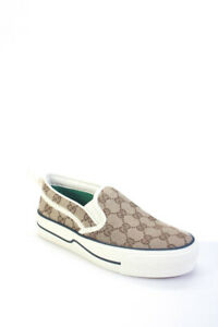 Gucci Womens Tennis 1977 GG Canvas Platform Slip-On Sneakers Brown Size 36 6