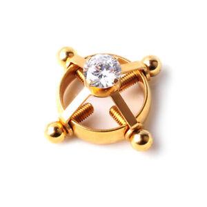 2pcs Fake Nipple Ring Non-Piercing Jewelry,Rhinestone Adjustable Nipple Clamps