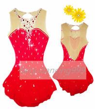 Red stylish Ice Figure Skating Dress Baton Twirling Dance Dress Competition p402