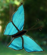 ARCTIC ICE BLUE BUTTERFLY Stained Glass Suncatcher CUSTOM LEADLIGHTS in STORE