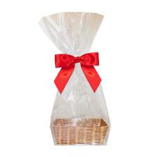 10 x Mini Cadeau Kits-Osier plateaux, Clear Cello Sacs & Bows-Douce Faveur Sacs