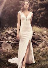 Lillian West Boho Vintage Lace New Wedding Dress Size 12 With Front Side Split.