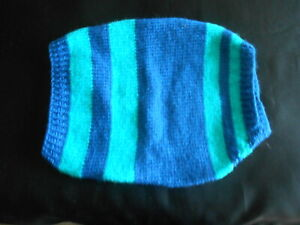 "Hand Knitted Green & blue dog jacket small 10"" made for Faith Animal Rescue"