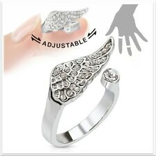 Rhodium Plated Brass Silver Stone Angle Wing Adjustable Mid- Ring or Toe Ring