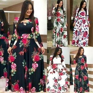 Women Long Canonicals Long Sleeve Party Floral Summer Sexy Fashion Maxi Dress