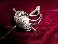 ANTIQUE VICTORIAN STERLING HAT PIN IN THE SHAPE OF A FILIGREE  RAPIER/SWORD