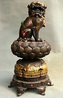 "14.8"" Qianlong Marked Old Red Bronze Gilt Lion Dog Lotus Incense Burner Censer"
