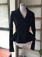 New Alexander McQueen Navy Wool Jacket IT 38