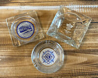 Lot of 3 Vintage Clear Glass Ashtrays 2 Hotels and 1 Restaurant