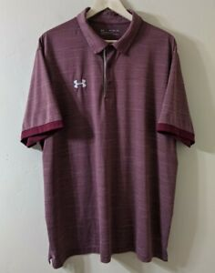 Under Armour Polo Shirt Mens 2XL Heather Loose Heat Gear Golf Red Maroon