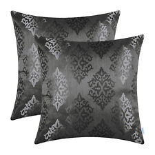 2pcs Grey Cushion Covers Pillows Shell Damask Shining Dull Contrast Sofa 45x45cm