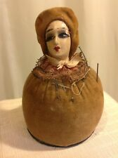 VINTAGE Brown Velvet Body & Hat  HALF LADY PIN CUSHION GERMANY?