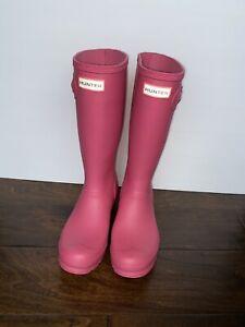 HUNTER Kids Original Tall Wellies Pink Rain Boots Size 7M -Will Fit Woman Size 7