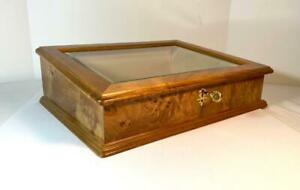 Powell Burl Wood and Bevelled Glass Lid Display Case Box w/ Key