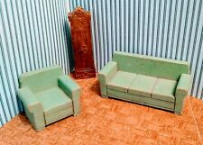 Vintage 1940s Dollhouse Furniture Strombecker Wood Sofa Chair Clock Living Room