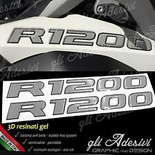 2 Adesivi Serbatoio Moto BMW R 1200 gs adventure LC 280 x 30 mm 3D GRIGIO NERO