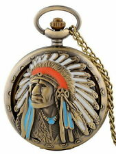 Indian pattern pocket watch Quartz Gold With Chain FREE SHIPPING ! ! !