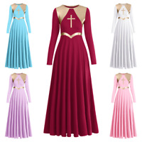 Women Metallic Praise Dance Maxi Dress Long Sleeve Liturgical Worship Swing Gown