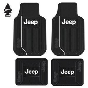 New 4 JEEP Elite Logo All Weather Front & Rear Heavy Duty Rubber Floor Mats Set