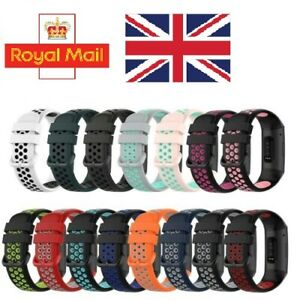 For Fitbit Charge 3/ 4 SE Perforated Two-colour Silicone Watch Strap Sports Band