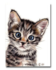 TABBY131 grey tiger cat kitten chat painting Sandrine Curtiss ORIGINAL Art ACEO