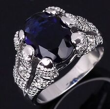 Size 9 Jewelry Luxury Blue Topaz 18K Gold Filled Nobby Engagement Rings For Mens