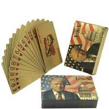 Donald Trump Waterproof Plastic Playing Cards Color Gold Foil Poker Deck Game