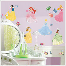 DISNEY PRINCESSES 37 WALL DECALS W/ GEMS Cinderella Snow White Ariel 75 Stickers