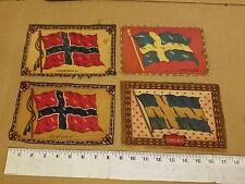 New listing 4 Vintage & Rare Cigar Box Large Felt Flags Dollhouse Rugs 2 Norway + 2 Sweden
