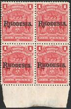 RHODESIA-1909-12 1d Carmine-Rose Mint Block of 4 Sg 101 UNMOUNTED MINT V37757