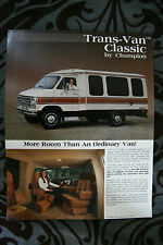 TRANS-VAN Classic CHAMPION 1983 Motorhome Camper dealer brochure - English