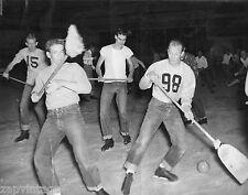 Vtg B&W 1920's - 1930's BETA PHI Frat Photo (Frat Group) Playing Broom Hockey