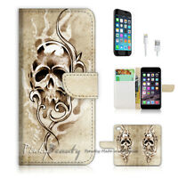 ( For iPhone 7 Plus ) Wallet Case Cover P1470 Skull
