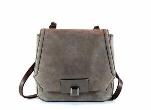 Kooba Filmore Mini Armadillo Gray Suede & Chocolate Brown Leather Crossbody Bag