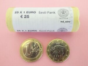 Estonia 2018 1 euro roll 25 coins RARE version with big stars and smaller map