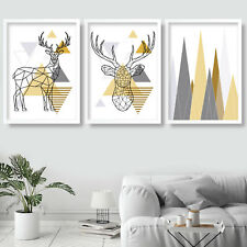 SET of 3 yellow GEOMETRIC Poly LINE Stags & Mountain Wall Art Prints Poster
