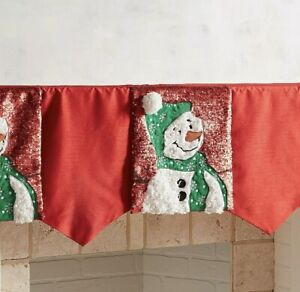 Pier 1 Imports Sequined Christmas Snowman Mantel Scarf
