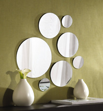 Wall Mount Mirror Set Of 7 Round Glass Bathroom Mirrors Home Decor Variable Size